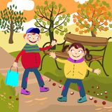 Autumn and children Royalty Free Stock Images