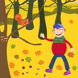 Autumn and children Stock Image
