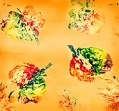 Autumn children`s drawing. S with colorful paints on a yellow background stock images