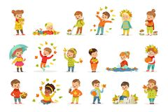 Autumn children s outdoor seasonal activities set. Collecting leaves, playing and throwing leaves, picking mushrooms Stock Illustration