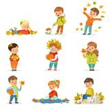Autumn children s outdoor seasonal activities set. Collecting leaves, playing and throwing leaves, picking mushrooms. Autumn children s activities set. Kids Royalty Free Stock Images