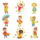 Autumn children s outdoor seasonal activities set. Collecting leaves, playing and throwing leaves, picking mushrooms. Autumn children s outdoor seasonal Stock Photography