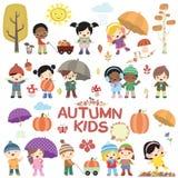 Autumn Children Vetora Set Fotos de Stock Royalty Free