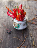 Autumn chilli. Red chili on the wooden table Stock Images