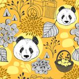 Autumn in China seamless pattern. Vector endless background with cute doodle panda. Cartoon illustration for children and adult stock illustration