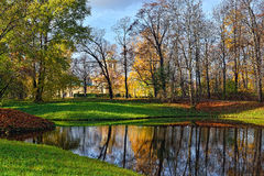 Autumn Chinese pavilion in Pushkin garden. Autumn Landscape in Catherine park, Pushkin, Russia. View to the Chinese pavilion Stock Photo