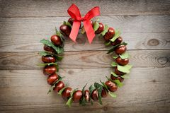 Autumn and christmas background, wreath Royalty Free Stock Images