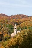 Autumn church Tuscan Emilian Apennines Royalty Free Stock Image