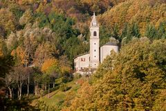 Autumn church Tuscan Emilian Apennines Royalty Free Stock Photos