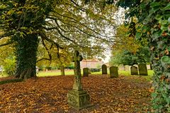 Churchyard with grave stone's. Royalty Free Stock Image
