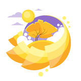 Autumn Circle Banner Flat Design Logo Yellow Tree Stock Foto's