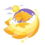 Autumn Circle Banner Flat Design Logo Yellow Tree Stock Photos