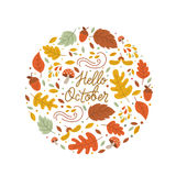 Autumn circle emblem. Vector greeting card with autumn elements made in circle and monoline lettering. Mushroom, acorn, maple leaves isolated on white background Stock Illustration