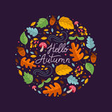 Autumn circle emblem. Vector greeting card with autumn elements made in circle and monoline lettering. Mushroom, acorn, maple leaves isolated on dark background Royalty Free Illustration