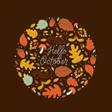 Autumn circle emblem. Vector greeting card with autumn elements made in circle and monoline lettering. Mushroom, acorn, maple leaves isolated on dark background Stock Illustration