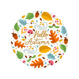 Autumn circle emblem. Vector greeting card with autumn elements made in circle and monoline lettering. Mushroom, acorn, maple leaves on white background. Perfect Royalty Free Illustration