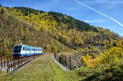 Autumn on the Circum-Baikal Road to the south of Lake Baikal. With train Stock Images
