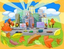 Autumn city. Illustration city street in autumn leaf fall Stock Photography