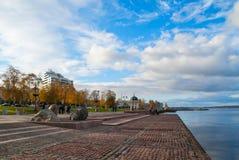 Autumn city lakeside Stock Photo