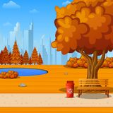 Autumn city park with bench under big tree and city background. Illustration of Autumn city park with bench under big tree and city background Stock Photo