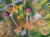 Autumn city park with gardening and landscape design. Green zone area with path for walking and running. Aerial view.  stock images