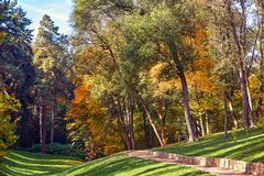 Autumn city Park with green grass and bright trees. Autumn Park with green grass and bright trees. Beautiful natural landscape royalty free stock photos