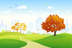 Autumn city park. Illustration of a beautiful autumn city park with bright foliage trees Stock Images