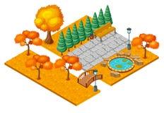 Autumn City Park Landscape Concept isométrique Images libres de droits