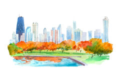 Autumn in city park natural beautiful landscape watercolor illustration. Stock Photography