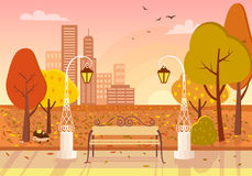 Autumn City Park Vector Illustration Stock Photo