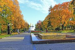 Autumn in city park. Yellow trees in city in fall. People walk in autumn park. Chernihiv / Ukraine, 16 October 2017: Passers-by go through autumn park. Autumn in royalty free stock photo