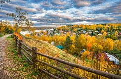 Autumn city of Plyos from the height Royalty Free Stock Images