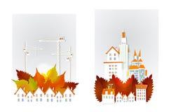 Autumn city street with cranes illustration Royalty Free Stock Photo