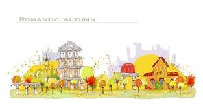 Autumn city street illustration Royalty Free Stock Images