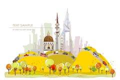 Autumn city street illustration Stock Photography