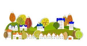 Autumn city street illustration Royalty Free Stock Photo