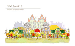 Autumn city street illustration Royalty Free Stock Image