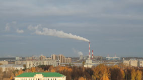 Autumn city and thermoelectric plant. Kazan, Russia. 22-10-2013 stock video