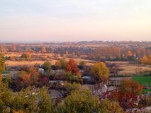 Autumn city. View from the window on an autumn nature Stock Photography