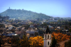 Autumn Cityscape with Bell Tower Stock Photography