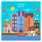Autumn cityscape with deciduous leaves. Urban landscape with large skyline with private houses.Vector illustration. Royalty Free Stock Photo
