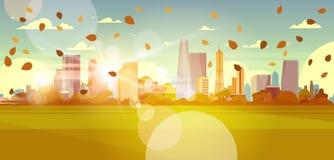 Autumn Cityscape Skyline With Leaves volant au soleil au-dessus du concept urbain de paysage de bâtiments de gratte-ciel illustration libre de droits