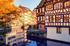 Autumn cityscape of Strasbourg with half-timbered houses. Alsace Stock Photos