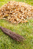 Autumn clearing - besom and a pile of leaves Stock Images