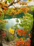 Autumn cliff view of Pink Lake Gatineau Park 2. View of Pink Lake from cliffside portion of Trail in Gatineau Park, Quebec, Canada Royalty Free Stock Photo