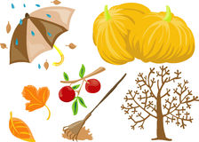 Autumn clip-art. Vector illustration of 7 autumn/fall theme clip-art Stock Photo