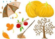 Autumn clip-art. Vector illustration of 7 autumn/fall theme clip-art vector illustration