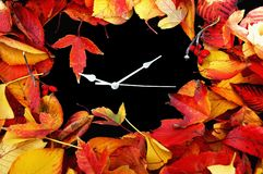 Autumn Clock. Conceptual image autumn leaves and time Royalty Free Stock Images