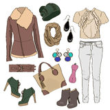 Autumn clothes collection for young women and girl. Vector illustration fashion design. Cute pretty hand drawn set  on white background. Female casual object Stock Photos