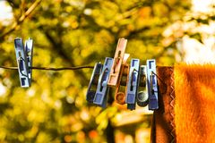 Autumn Clothes Peg. On the wire royalty free stock image